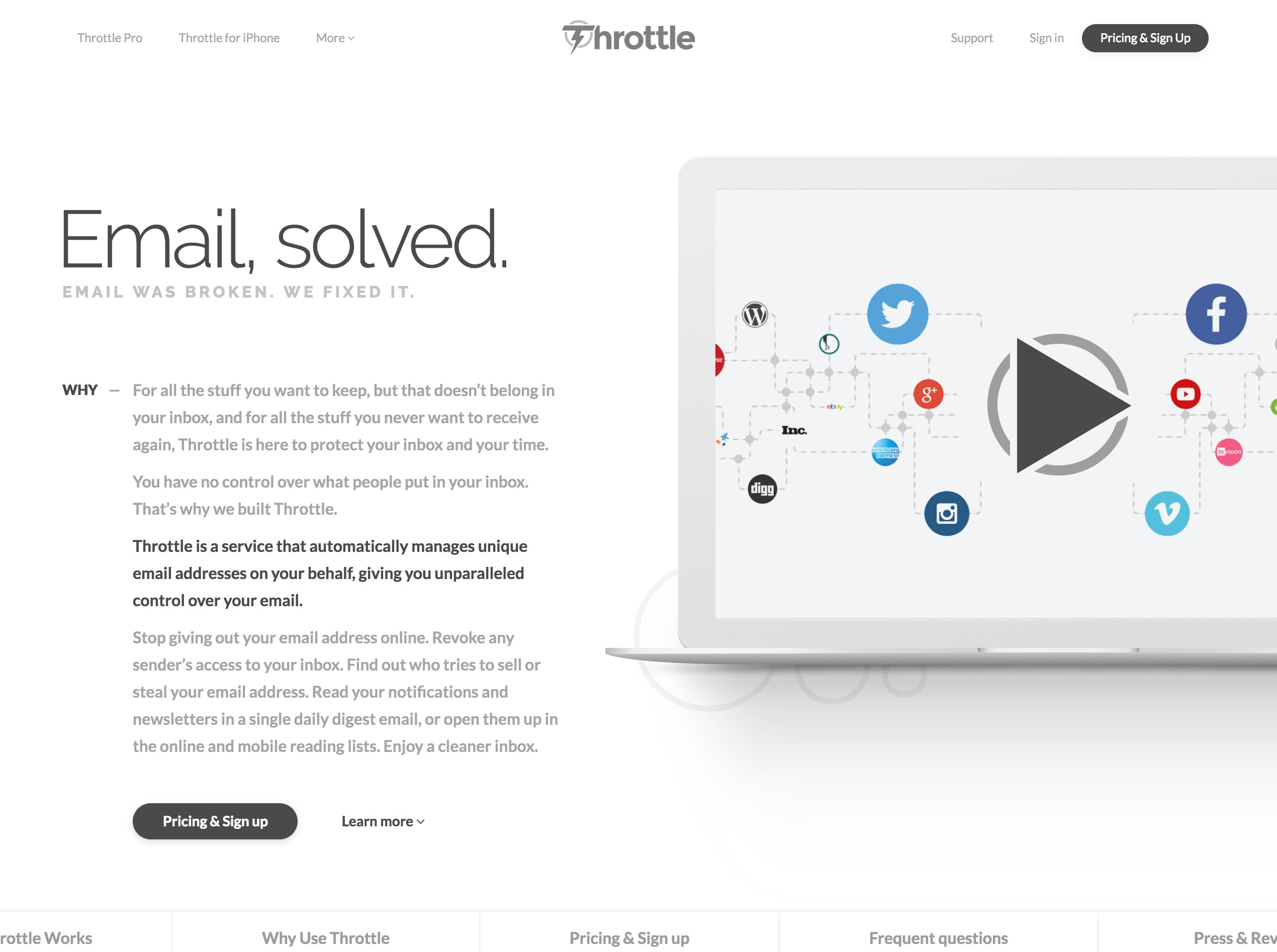 Control who can send you email with Throttle